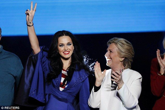 Bringing out the A-list: The Firework performer stumped for Hillary just 24 hours after Beyonce and Jay Z had rallied support for her in Cleveland, Ohio