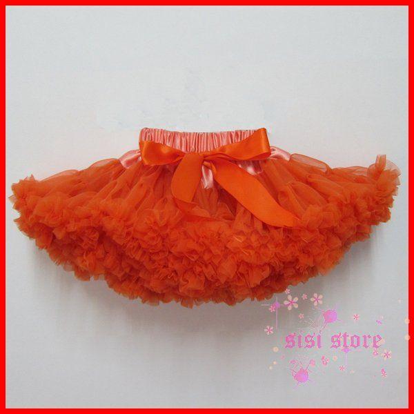 Мода девушки оранжевый юбка, Детская бальное платье шифоновая юбка, Детские юбки бесплатная доставка