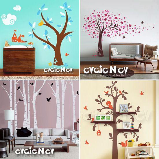 arboles: Nursery Wall Decals, Bookshelves, Cute Ideas, Nurseries Wall Decals, Trees, Vinyls Wall Decals, Wall Decals Cuuuuut, Baby Rooms, Evgi Vinyls