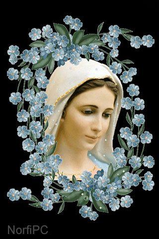 #FondosDePantalla #Cristianos para el teléfono celular Bella pintura de la Virgen María: