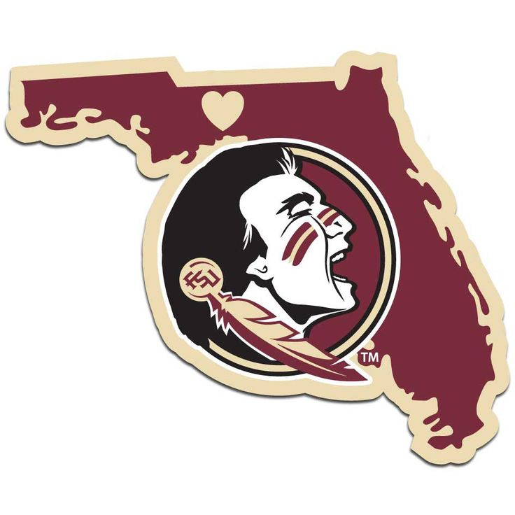 Seminoles head with the state of florida behind it, perfect to show off on your car !
