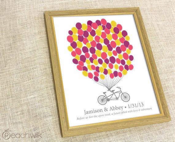 Wedding Guest Book Print - The Signature Bikewik - A Peachwik Personalized Art Print - 100 guest sign in - Balloons & Bike Guestbook
