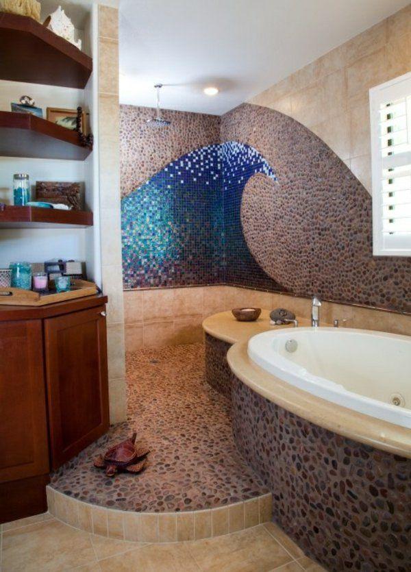 décoration murale mosaique, une salle de bains originale
