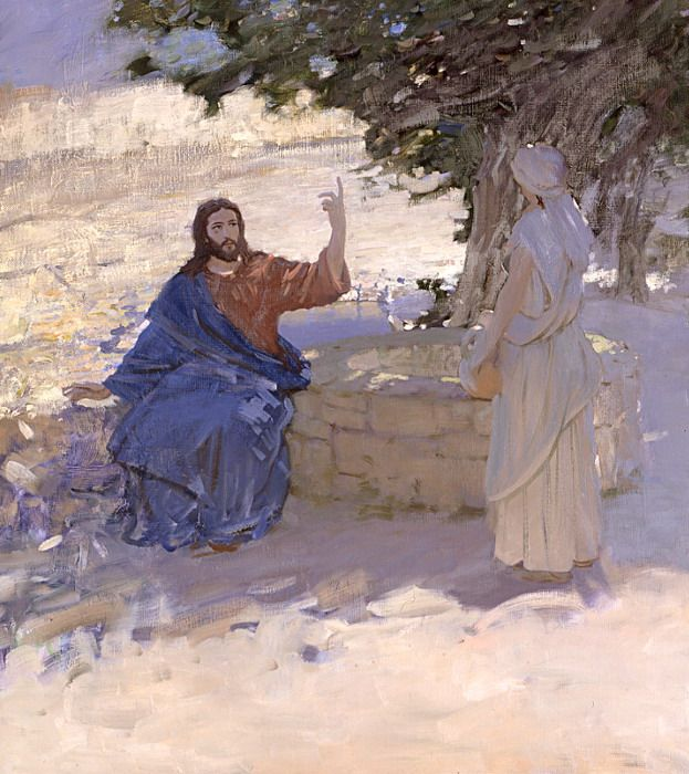 "John 4:9-10 9   The Samaritan woman said to him, ""How can you, a Jew, ask me, a Samaritan woman, for a drink?"" (For Jews use nothing in common with Samaritans.)  10  Jesus answered and said to her, ""If you knew the gift of God and who is saying to you, 'Give me a drink,' you would have asked him and he would have given you living water.""  Water of life - Bato Dugarzhapov - Russian Fine Art"