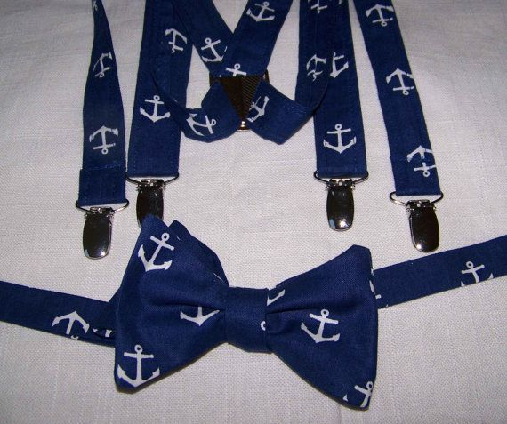 Men's SUSPENDERS and BOW TIE  and Pocket Square (not shown) set - adjustable - Navy with white Anchors - Out to Sea- Nautical - Cotton