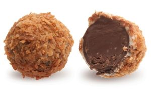 Конфеты ручной работы Frade ЗОЛОТАЯ НОЧЬ Нежный трюфель с ореховой начинкой и темным шоколадом в вафельной крошке… Россыпи золотых самородков.