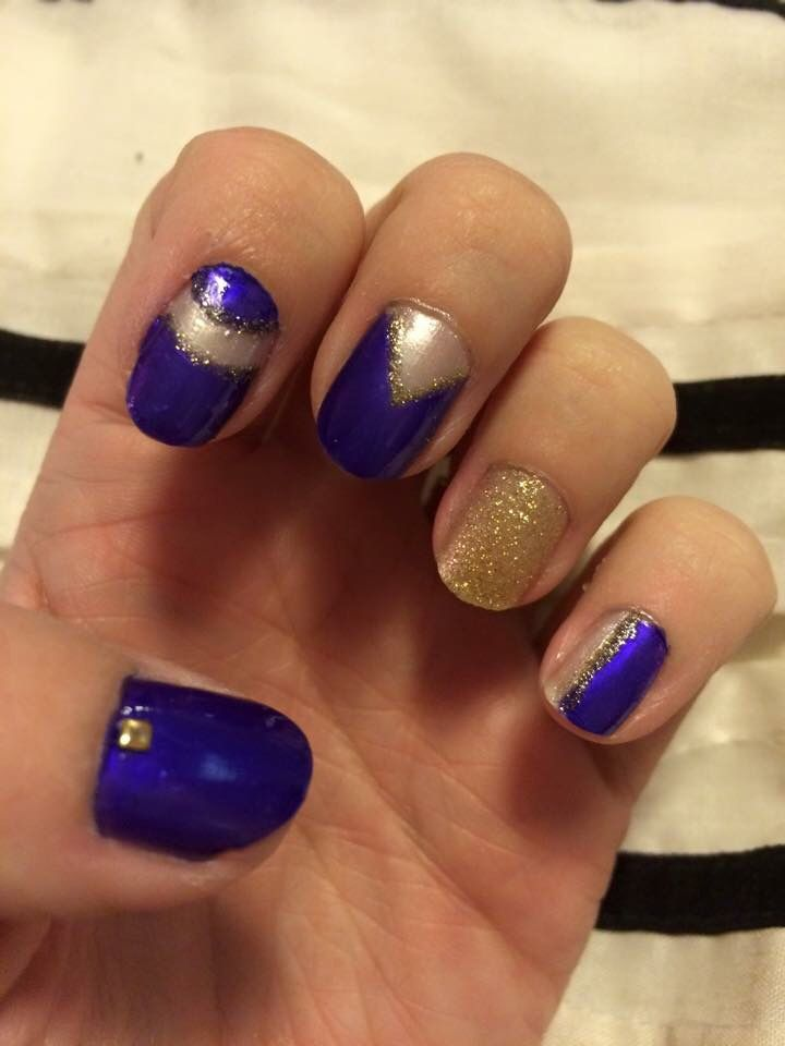 Purple and gold sparkle nails