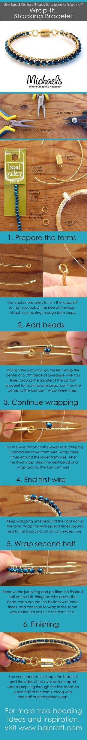 Tutorial DIY Wire Jewelry Image Description Step-by-step photos by Barb Switzer show you how to make a wire wrapped bracelet with Bead Gallery beads for a sparkling beauty you'll love to stack!