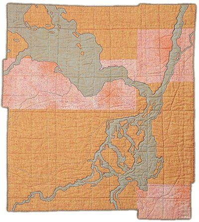 """mapQuilt.jpg  i LOVE this.  An entire quilt of """"map"""" section blocks of all the places we travel -  would be such a great gift for Blaise.  Using colors from the region (mountain, desert, nwestern, oceanic, alaskan, etc.)  LOVE THIS!"""