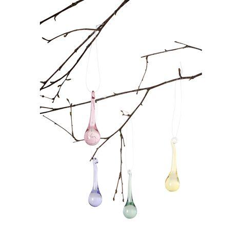 Dekoration DROP glas. 8-pack. Glasdekorationer i fyra färger för ditt påskris.