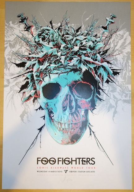 2015 Foo Fighters – Adelaide Silkscreen Concert Poster by Ken Taylor