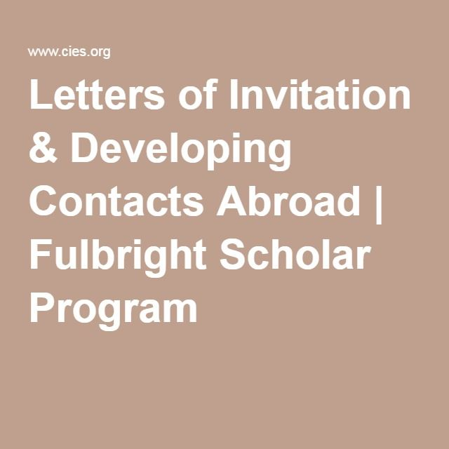 Letters Of Invitation  Developing Contacts Abroad  Fulbright