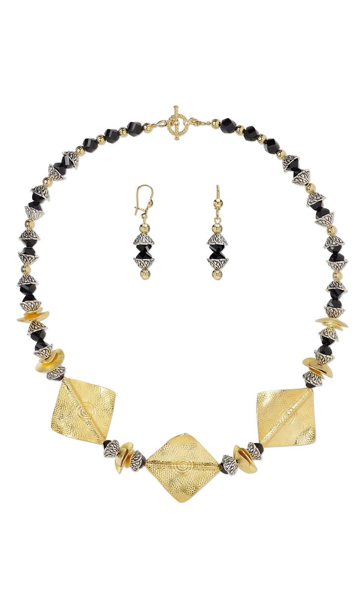 Jewelry Design - Single-Strand Necklace and Earring Set with Metal Beads and Bead Caps and Celestial Crystal® Beads - Fire Mountain Gems and Beads