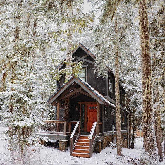 Rustic cabin home - These cabins are made for snuggling, wood fire.
