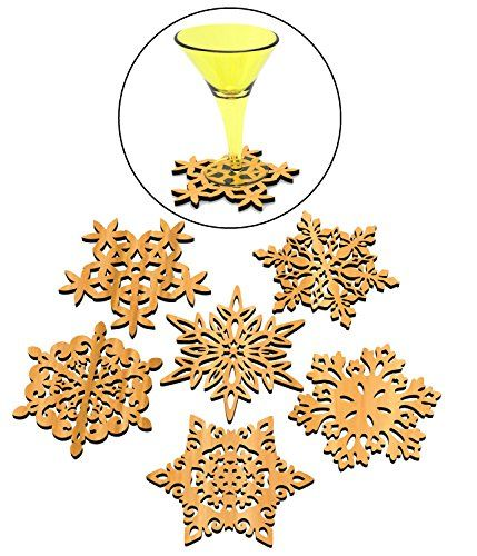 Set of 6 Piece Creative Vintage Wood Snowflake Coasters Carved Hollow Designed Decorations Mini Tabletop Trivets Tea Wine Laser Cut-outs Winter Collection Multi Purpose Novelty Ornaments Art and Craft MBHGOODS http://www.amazon.com/dp/B01979WJBW/ref=cm_sw_r_pi_dp_kIQNwb0HP1EH0