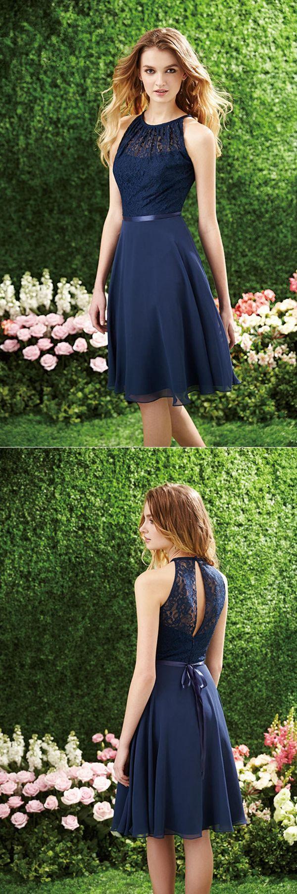 Navy Blue Lace Bodice A-line Knee Length Chiffon Bridesmaid Dress with Ribbon