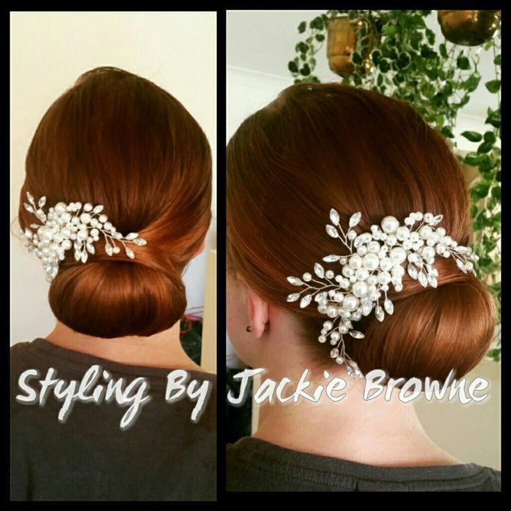 Bridal chignon upstyle low bun red hair pearl diamonte comb Bridesmaids