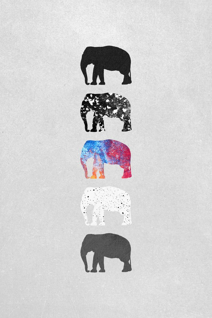 """Five elephants"" Art Print by Elisabeth Fredriksson on Society6.:"