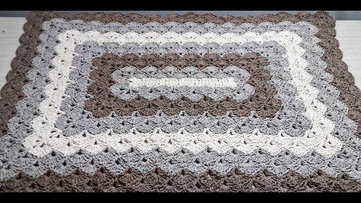 Tapete de Crochê Retangular Ponto Concha