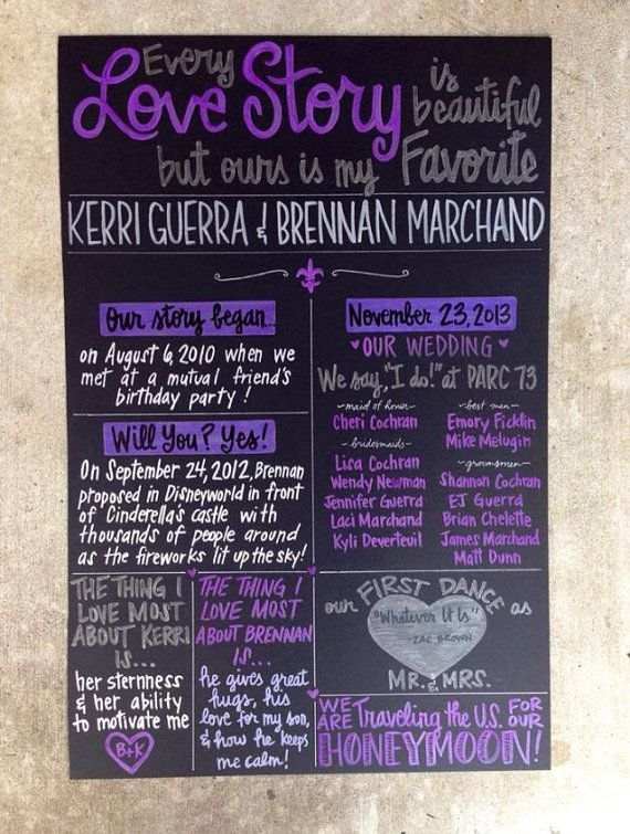 Different shades of purple, grey and white wedding colors. Custom Hand-Painted 20x30 WEDDING CHALKBOARD POSTER signage wedding ceremony program party menu engagement shower on Etsy