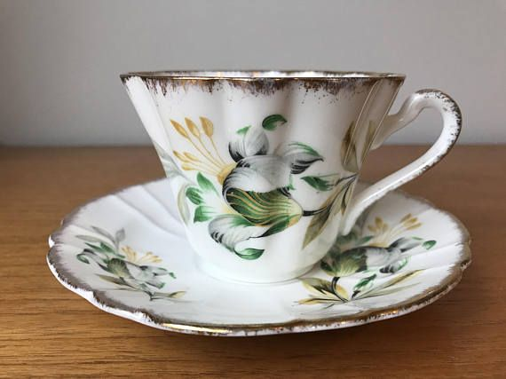 Gladstone Vintage Teacup and Saucer White and Green Floral
