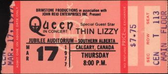 Thin Lizzy, Queen, Concert, Jubilee Auditorium Southern Alberta, Calgary, Canada, 17th March 1977, Ticket, Backstage pass, Thin Lizzy Guide made by Peter Nielsen