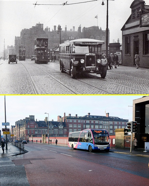 Preston then and now..#40...The top of Fishergate Hill, looking down from Butler St. 1933, and how it looks now in 2010. by JohnnyEnglish, via Flickr