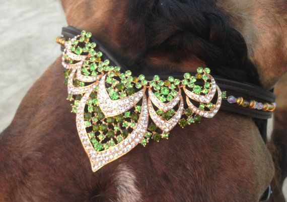 Peridot Scallop a crown for your horse! 16 Havanna Leather Browband by OkoKonia on Etsy, $175.00