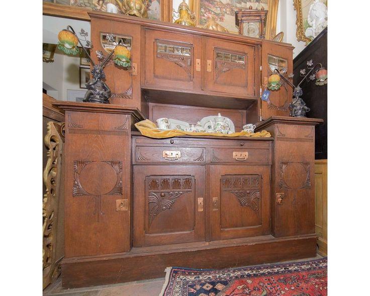 Antiker Jugendstil Schrank Massiv Eiche Geschirrschrank Wohnfertig Wohnzimmer In Antiquitten Kunst Mobiliar Interieur