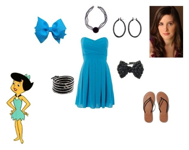 """Megan Healy's DIY Halloween Costume (Betty Rubble)"" by runwaygirl20 on Polyvore featuring TFNC, Abercrombie & Fitch, Chan Luu and Roberto Demeglio"