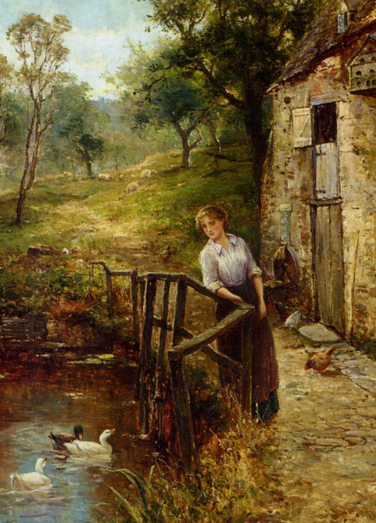 """YOUNG LADY BY THE MILL POND"" By: Ernest Walbourn (1872-1927)"