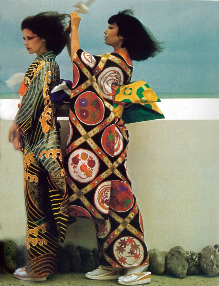 Dayle Haddon and Tina Chow by Guy Bourdin Vogue Paris 1974