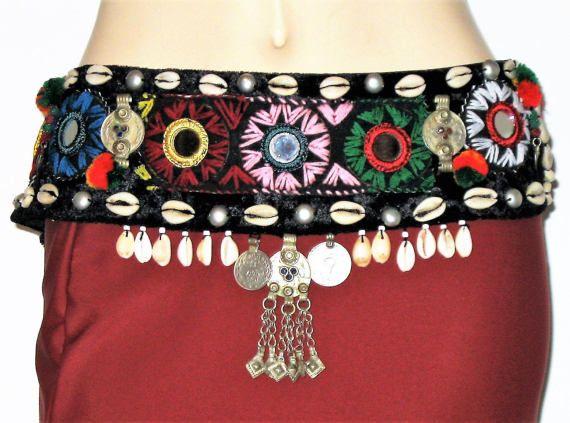 Tribal belt, Belly dance, Tribal Gypsy ATS Fusion belly dance belt, Kuchi belt, Coin belt, Tribal shell belt, Tribal mirror belt,Cowrie belt