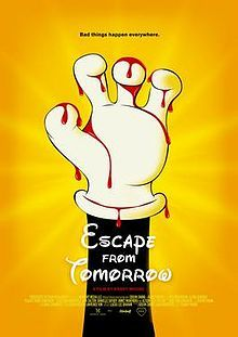 """Escape from Tomorrow is a fantasy-psychological horror film about a man having increasingly disturbing experiences and visions during the last day of a family vacation at the Walt Disney World Resort.  Due to Disney's reputation of being protective of its intellectual property, the cast and crew used guerrilla filmmaking techniques to avoid attracting attention, shooting on handheld video cameras similar to those used by tourists.  It was called """"the ultimate guerrilla film"""""""