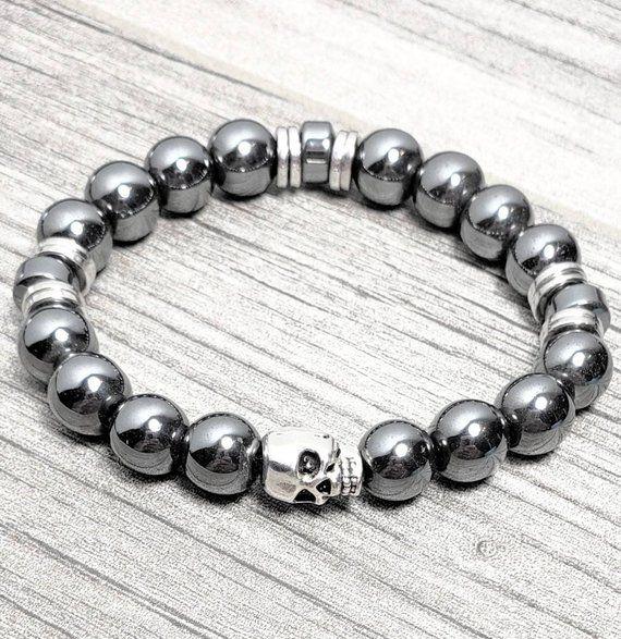Mens Skull Bracelet Gemstone Silver