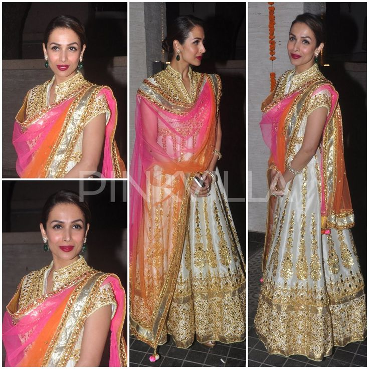 Malaika Arora Khan in Preeti S Kapoor styled with bangles from Gehna, emerald earrings and ring by Farah Khan and Jimmy Choo heels.