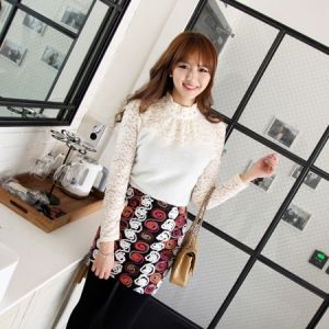 Korea Womens Luxury Shopping Mall [mimindidi] ego lace ♡ bl / Size : FREE / Price : 43.53 USD #korea #fashion #style #fashionshop #apperal #luxury #lovely #mimididi #top #blouse #lace