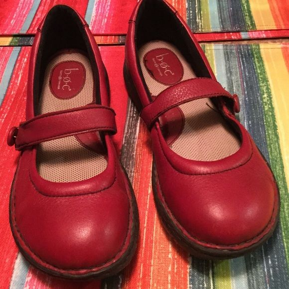 LEATHER MARY JANE RED VELCRO STRAP FLATS These shoes are like new. Very comfy soft inside shoe. Adjustable Velcro straps. BOC  BORN CONCEPT Shoes Flats & Loafers