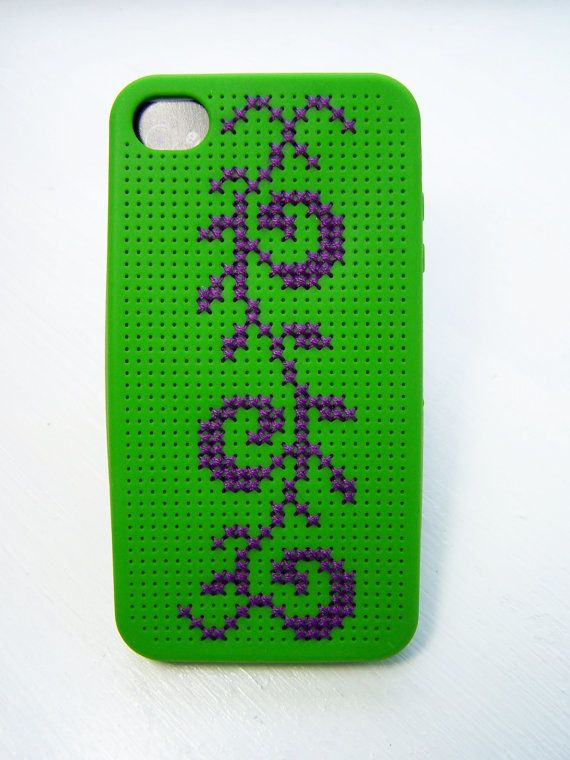 iPhone 4 Case Cross Stitch Case Embroidered Phone by WitsEndDesign, $20.00