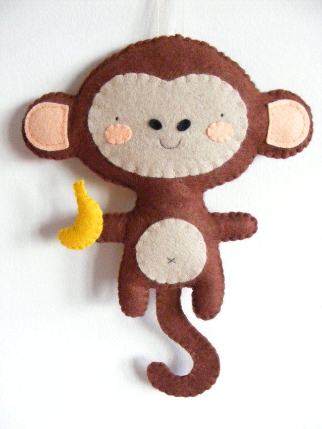 PDF pattern - Felt monkey with banana ornament. DIY hanging softie, baby room wall decoration, handmade plush toy for girl or boy. $6.00, via Etsy.