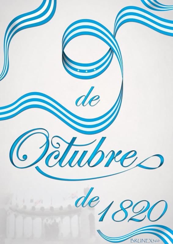 9 de Octubre del 1820.  Afiche para Guayaquil..