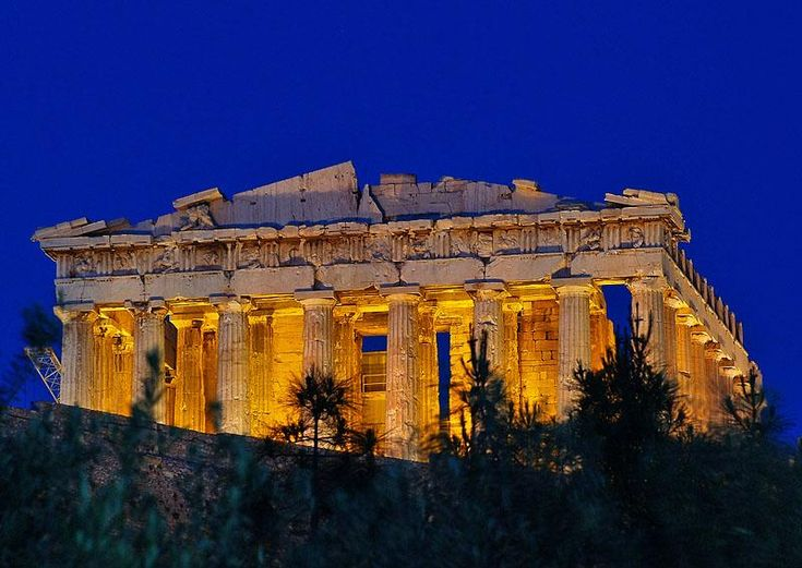 The Parthenon (night lights)is a temple on the Athenian Acropolis, Greece, dedicated to the Greek goddess Athena, whom the people of Athens considered their virgin patron. Its construction began in 447 BC when the Athenian Empire was at the height of its power. It was completed in 438 BC, although decorations of the Parthenon continued until 432 BC. It is the most important surviving building of Classical Greece, generally considered the culmination of the development of the Doric order