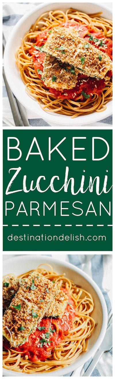 Baked Zucchini Parmesan | Destination Delish - Breaded zucchini baked until crispy on the outside and tender on the inside. Then, topped with marinara. It's healthy, vegetarian take on the Italian classic.