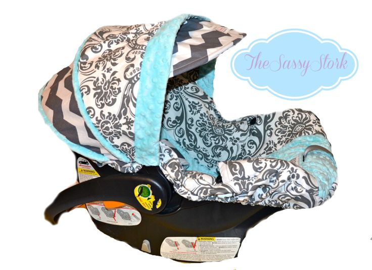 Grey Damask, Chevron and Aqua minky infant car seat cover with matching strap covers custom made for your car seat. $94.99, via Etsy.