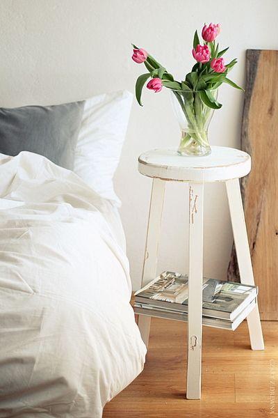 WHITE STOOL w Czary z Drewna na DaWanda.com
