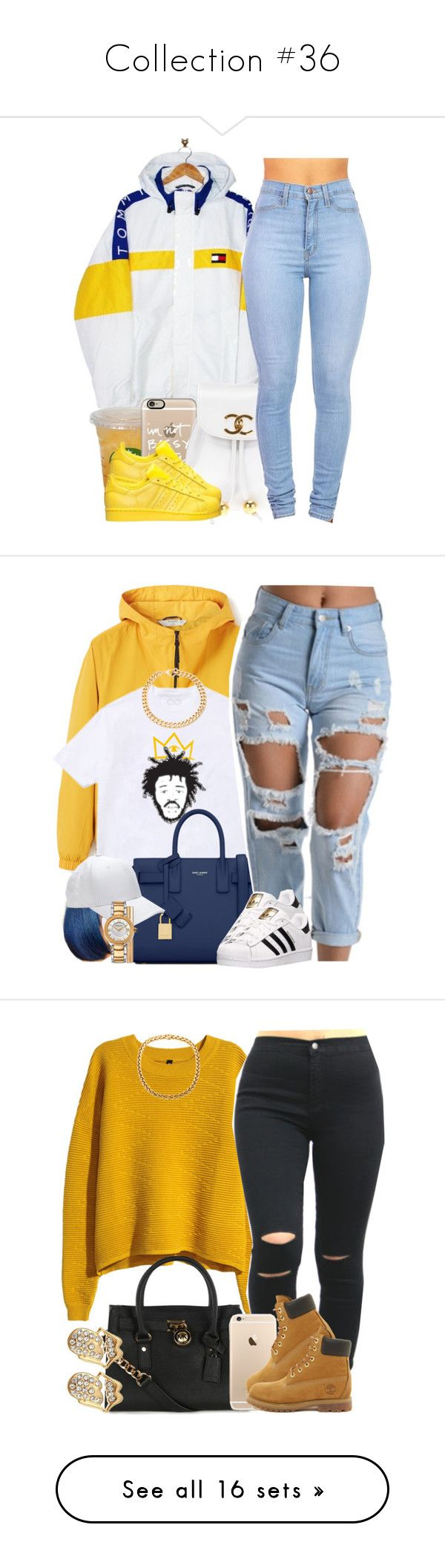 """Collection #36"" by liyahschwagg143 ❤ liked on Polyvore featuring art, MANGO, Yves Saint Laurent, Versace, Alessandra Rich, adidas, H&M, Michael Kors, Timberland and Boohoo"