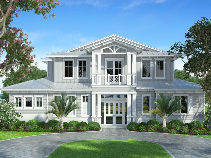 069h 0046 Elegant Two Story House Plan With Southern Flair Coastal House Plans Florida House Plans Beach House Exterior