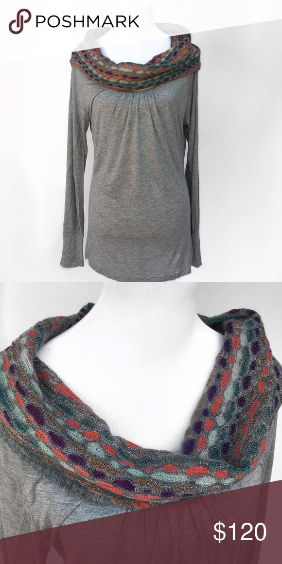 Missoni Denim Tee w/scarf detail - Size Large NWT Missoni Denim top. Retail: $195. New condition. Gray long-sleeve tee with scarf detail. Size Large. Missoni Denim Tops Tees - Long Sleeve