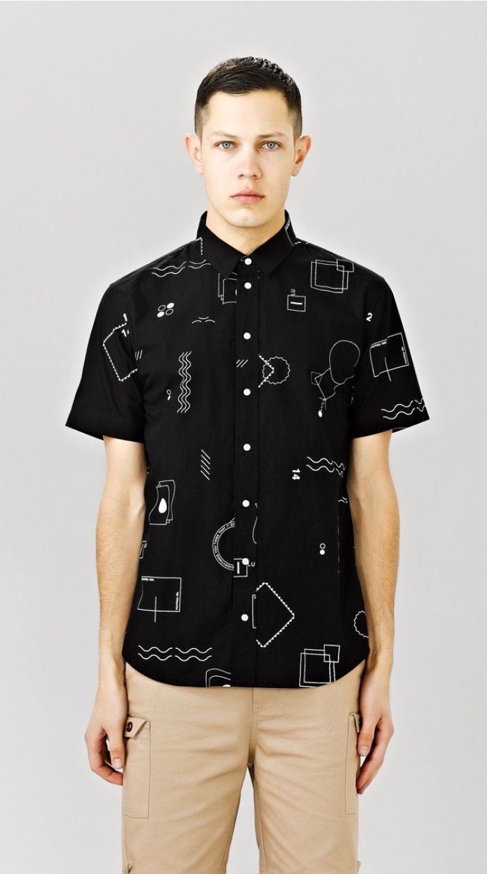 GEOMETRIC SHORT SLEEVE SHIRT - BLACK
