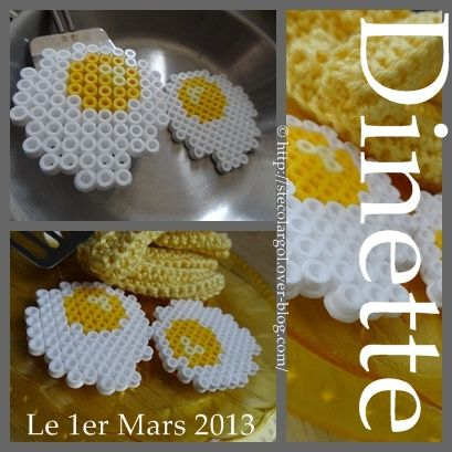 Dinette Hama Beads - HAMA-TUTO-DIY some eggs to go with that bacon perler I just repinned lol